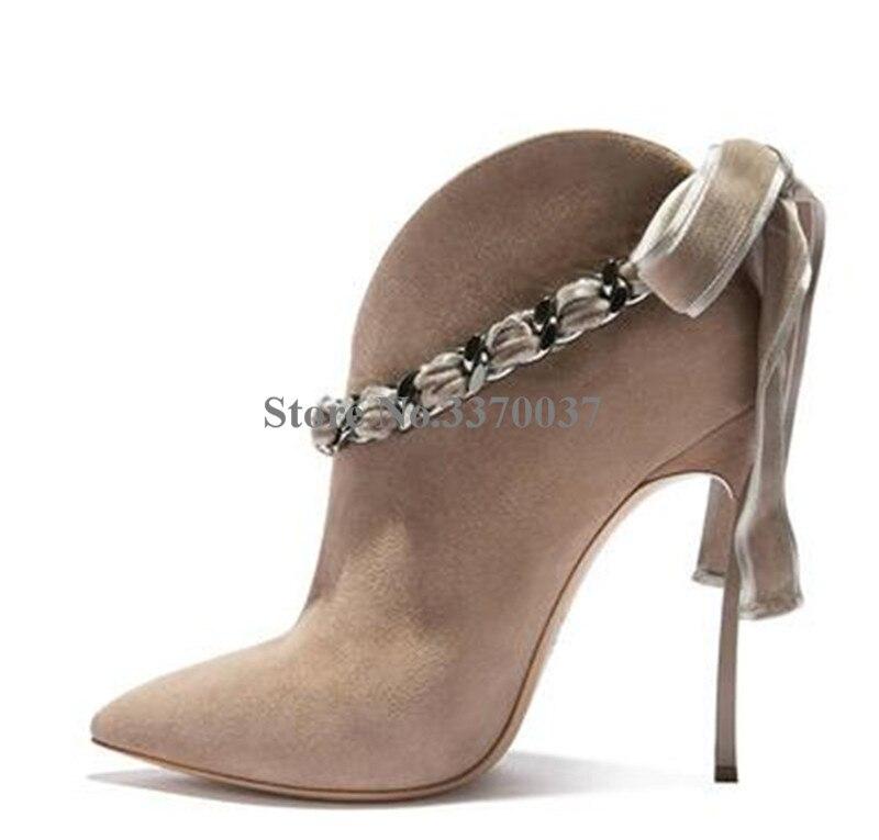 Estilo Da Forma das mulheres Apontou Toe de Camurça de Couro Alça de Corrente de Metal Stiletto Calcanhar Botas Curtas botas de Tornozelo Bowtie Rosa - 5