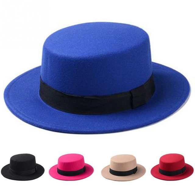 d05c6f47a4bf Spring Summer Sombreros Beach Sun Hats For Women Winter Vintage Fedora Hat  Wool Felt Wide Brim Bowler Church Cap Chapeu