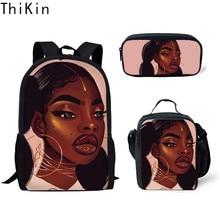 THIKIN Childen Primary School Bags for Kids 3pcs/set Black Art African Girls Printing Backpack Children Book Satchel