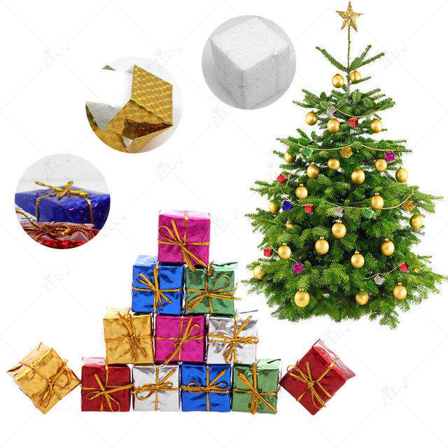 zljq 12pcs small christmas tree gift box bag foil foam hanging ornaments holiday party decorations