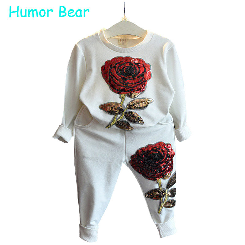 Humor Bear Girls clothing set fashion Sequined flower long-sleeved +pant Suit girls set baby girls clothes humor