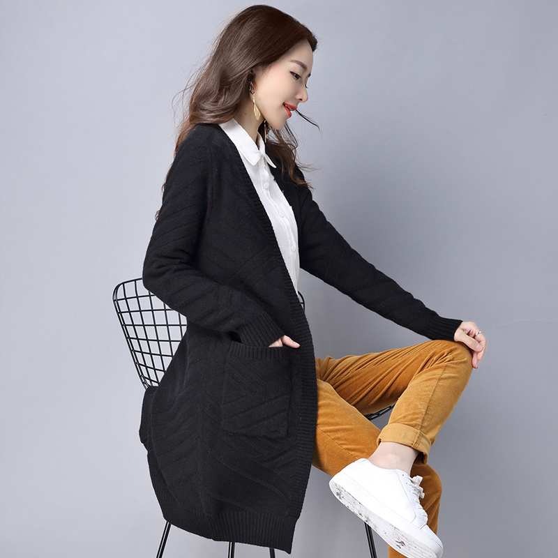 Yagenz long gray beige Femme black Cardigan 2017 Manteau Longues Zaohong Veste Corée Manches Femmes À D'extérieur purple Tricots Lâche Vêtements Pull Automne Moyen Solide Nouvelles 8nXPOwk0
