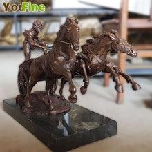 купить 24.4``  Western Art Deco Bronze Man Chariots of War Horse Cart  Sculpture дешево
