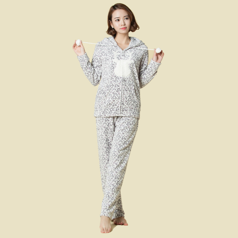 2016 Women Girls Casual Tracksuit Coral Fleece Hoodie Jacket And Sweatpant 2...