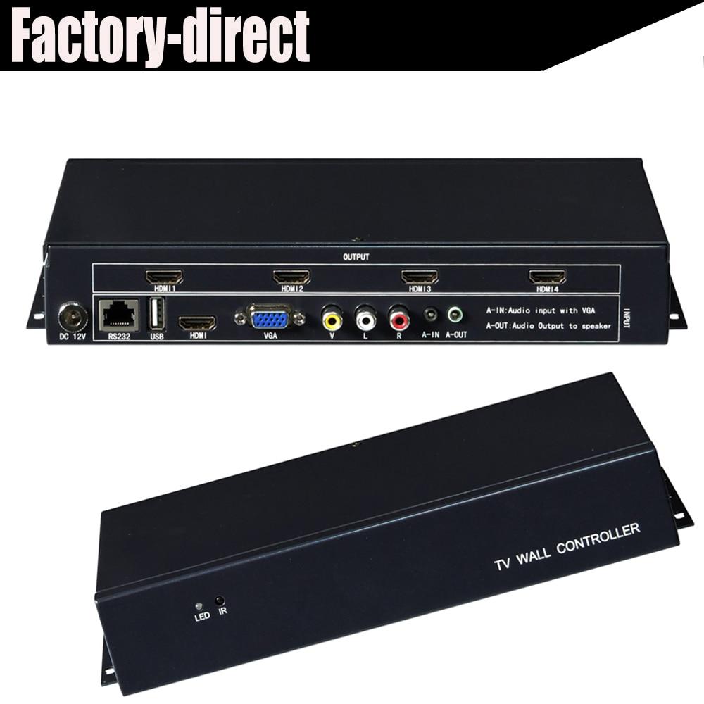 2x2 Video Wall Controller USB/HDMI/VGA/AV TV processor 4 TV shows a screen splicing For LED/LCD Display цены онлайн