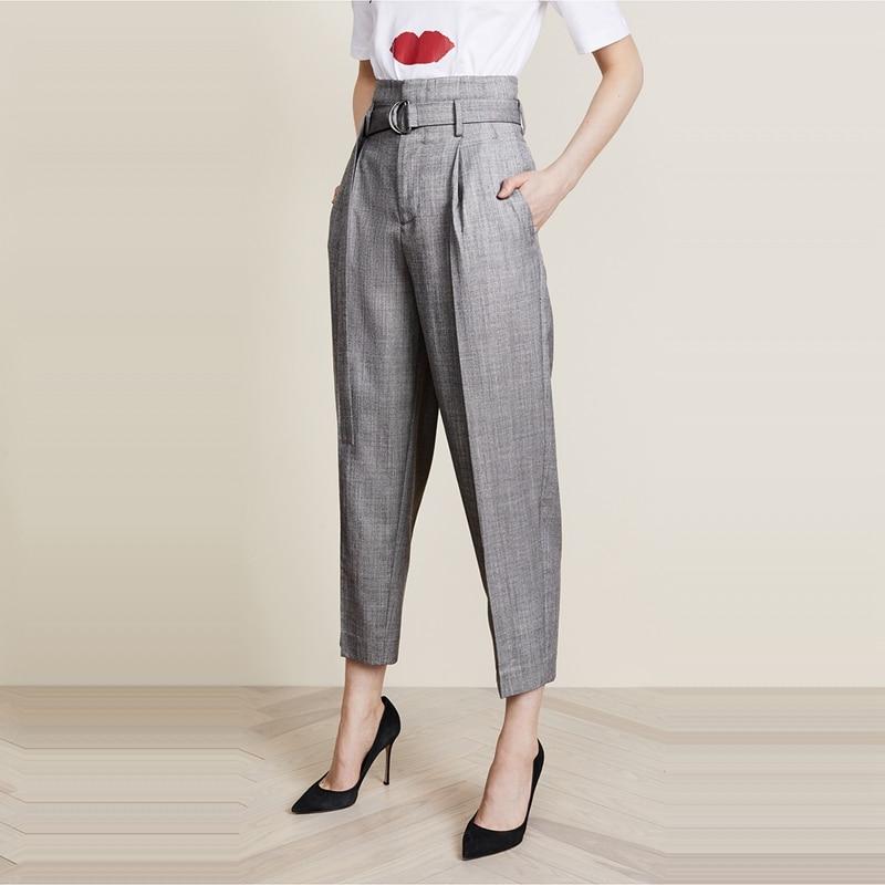Gray High Waist Metal Ring Bandage Pants 4