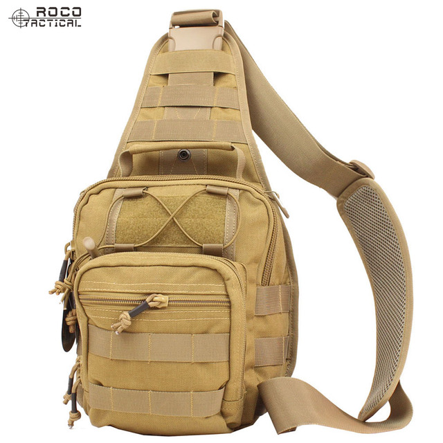 ROCOTACTICAL Tactical Crossbody Sling Bag Premium EDC Tactical Sling Pack  1000D Nylon for Hiking Camping CP 94d847704588a
