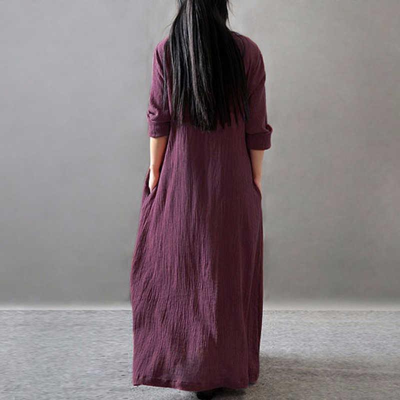 2019 夏ヴィンテージドレスの女性ロングドレスソリッド V ネック長袖綿レトロマキシドレスプラスサイズ XXXL 5XL 6XL ローブフェムセクシー