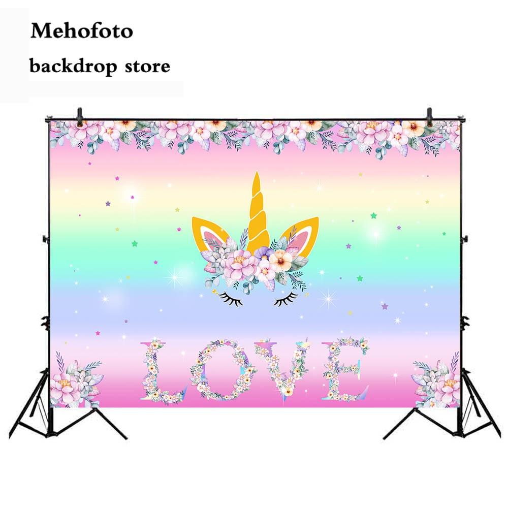 Unicorn Narozeniny Téma Party kulis Vlastní Rainbow Flower Láska - Videokamery a fotoaparáty - Fotografie 4