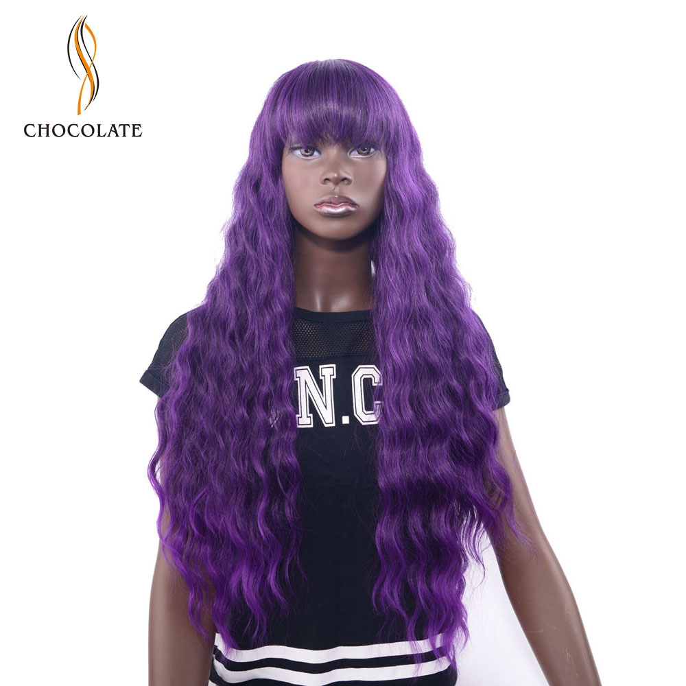 CHOCOLATE Long Wavy Synthetic Wig for Women 200% Density Cosplay Wig Purple Color Mono Head Lace Wig With Hair Bang 24 Inch