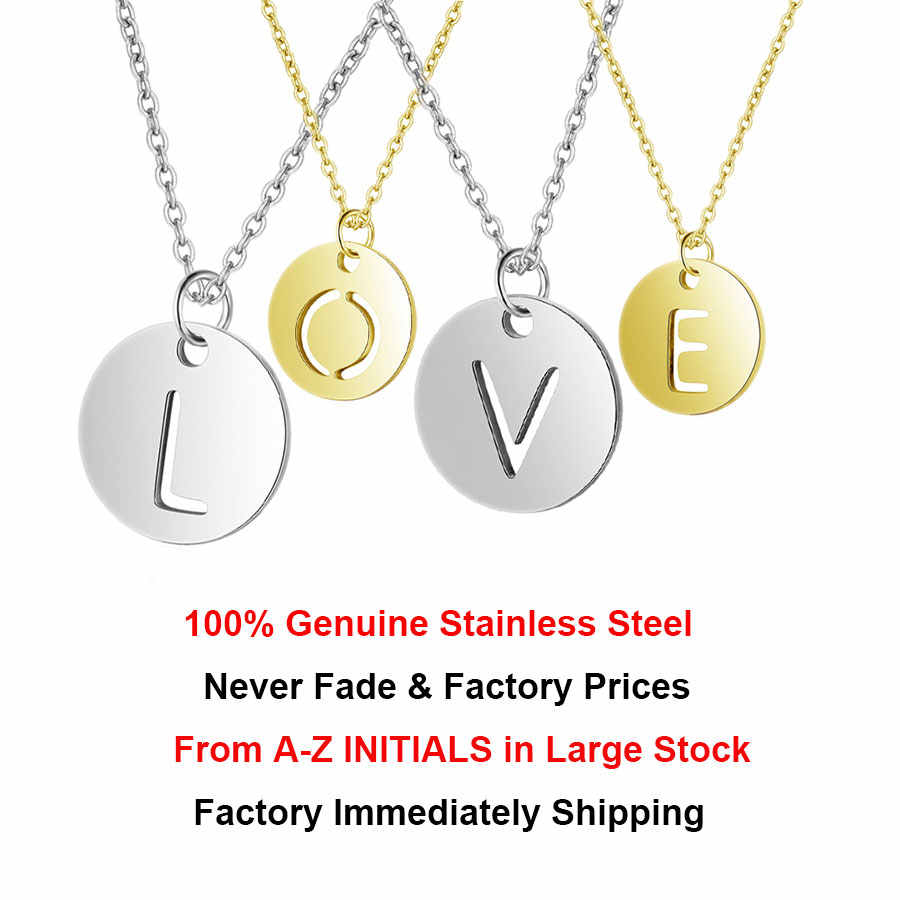 パーソナライズされた文字のネックレスイニシャル名 100% 本物のステンレス鋼ジュエリーゴールド & シルバーアクセサリーのガールフレンドのギフト
