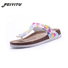 купить New Beach Cork Flip Flops Slipper 2017 Casual Summer Mixed Color Outdoors Valentine Sandals Flat Shoe Free Shipping Plus Size по цене 949.71 рублей