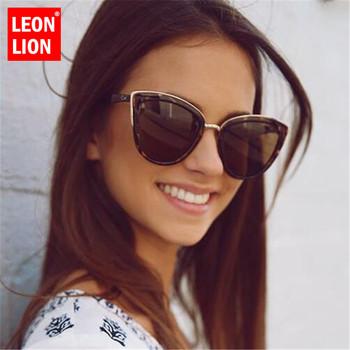 LeonLion 2019 moda Cateye okulary kobiety w stylu Vintage metalowe okulary dla kobiet lustro Retro zakupy óculos De Sol Feminino UV400 tanie i dobre opinie Cat eye Antyrefleksyjną Z tworzywa sztucznego Dla dorosłych 46mm 53mm Sunglasses MD01 Round face Long face Square face Oval shape face