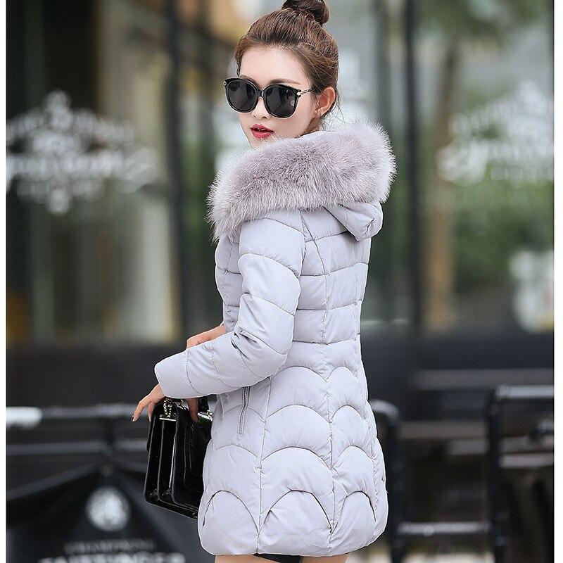 ФОТО 2017 Winter Jacket Woman's Outerwear Slim Hooded Down Cotton Jacket female Fur Collar thickening Warm Jacket Coat manteau femme
