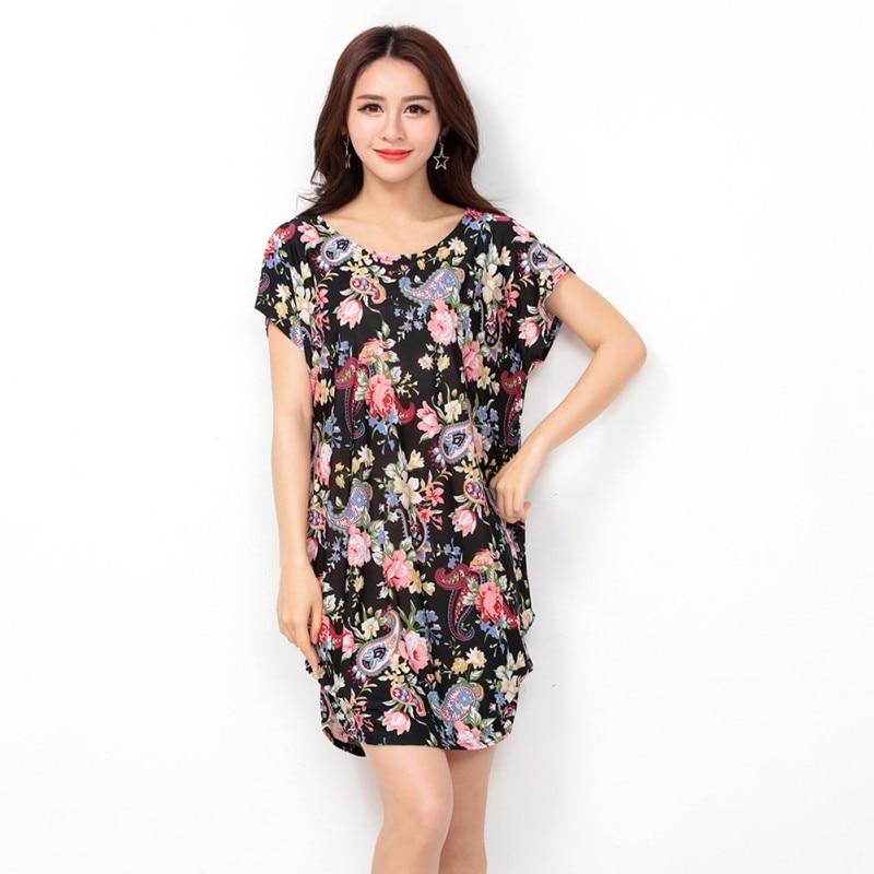 Brand Dress Women Vintage Summer Beach Girls Above Knee Party Dresses Loose O-Neck Wear Plus Size