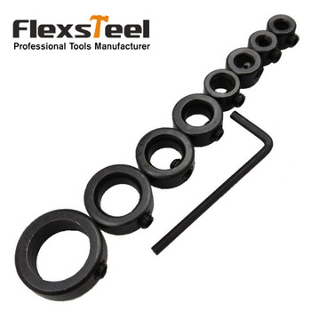9 Pieces/Set Woodworking Drill Bit Depth Stop Collars Ring Positioner Drill Locator Positioner Stable + Hex Wrench Key