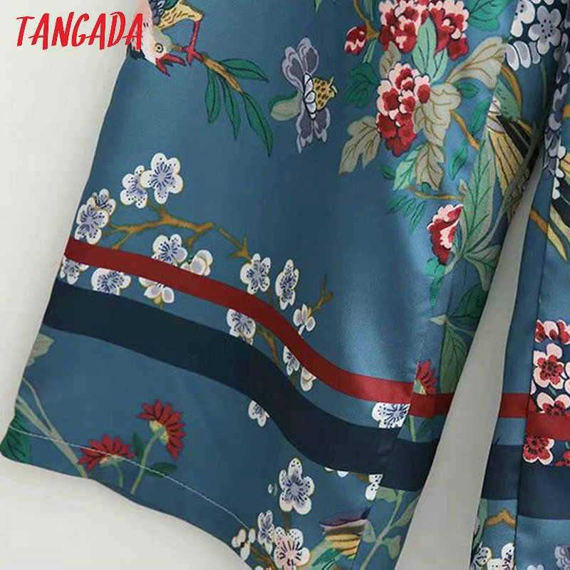 Tangada широкие брюки женские брюки  летние штаны брюки с высокой талией брюки с цветами цветочный принт легке брюки дизайнерские брюки XD460