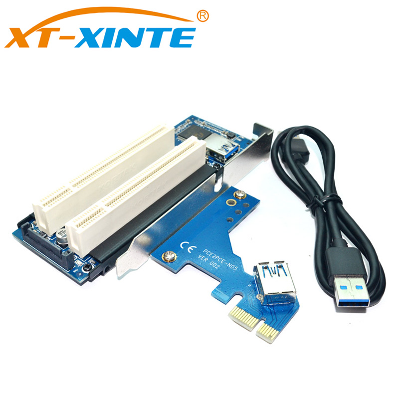 цена на Desktop PCI-Express PCI-e to PCI Adapter Card PCIe to Dual Pci Slot Expansion Card USB 3.0 Add on Cards Convertor