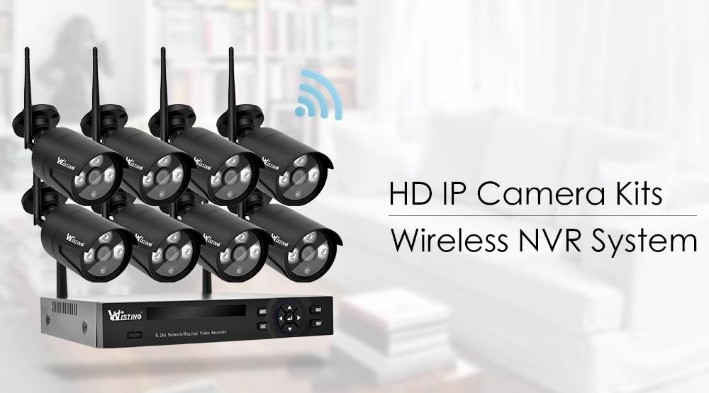 Wistino 4CH Wireless IP Camera NVR Kits 720P CCTV Security System Wifi Cameras XMEye Outdoor Waterproof Surveillance Kit Night Vision (1)