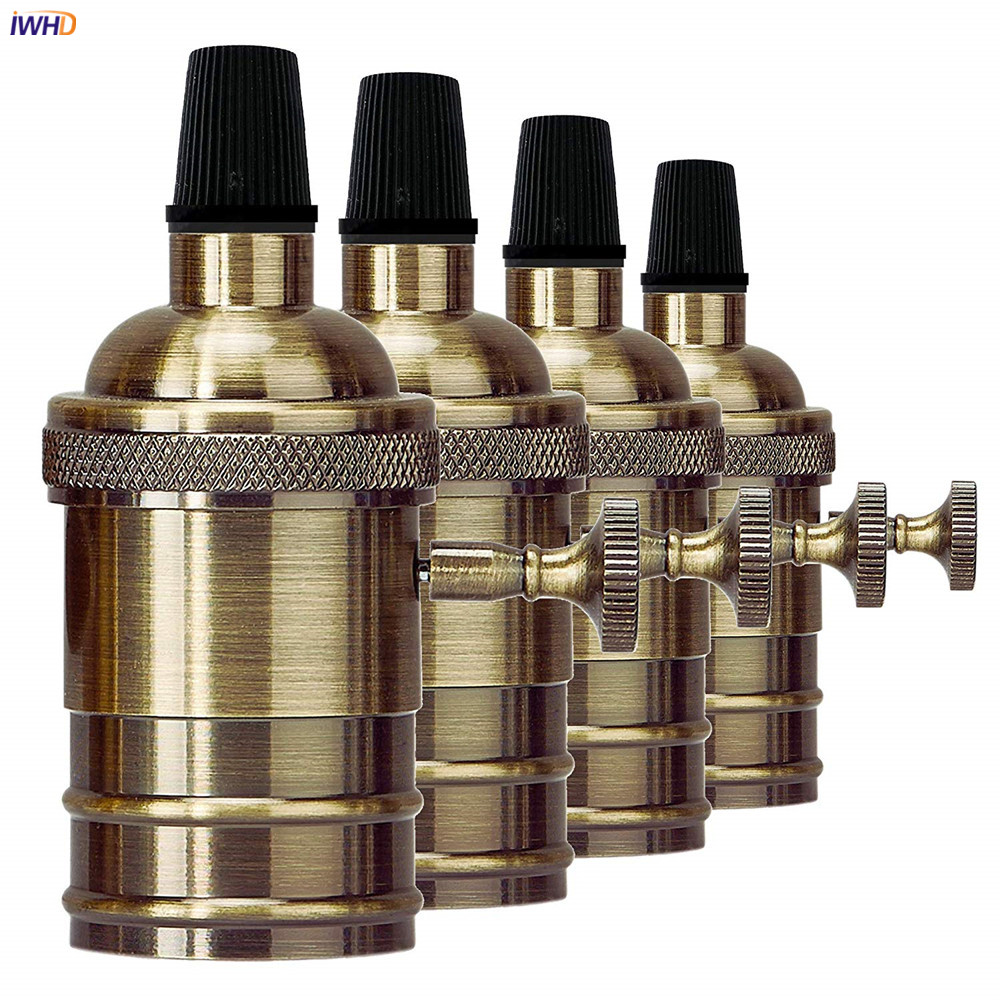 IWHD Douille Soquete Portalamparas Vintage E27 Socket Base 110-220V LED Edison Retro Fitting E27 Bulb Lamp Holder CE UL