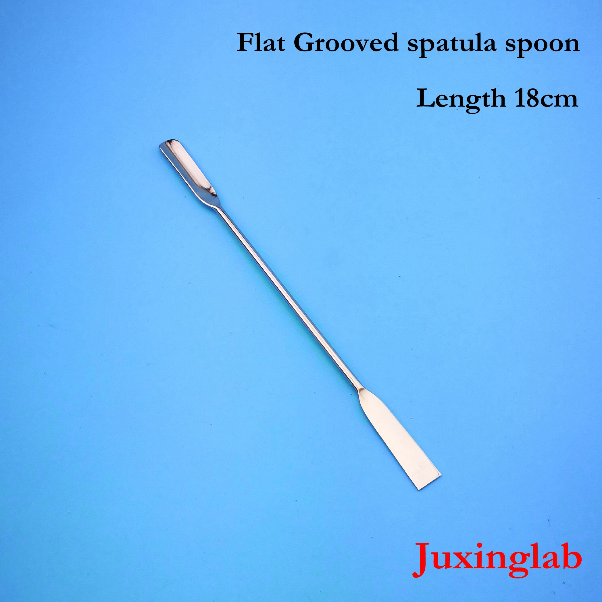 Laboratory Stainless Steel Flat Grooved Spatula Spoon Length 180mm Spatulas Spoon Flat 18cm Length