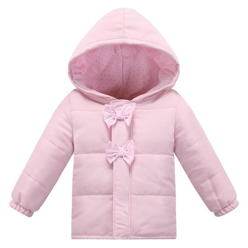New Fashion Winter Baby Girl Jacket Newborn Hooded Bow -9393