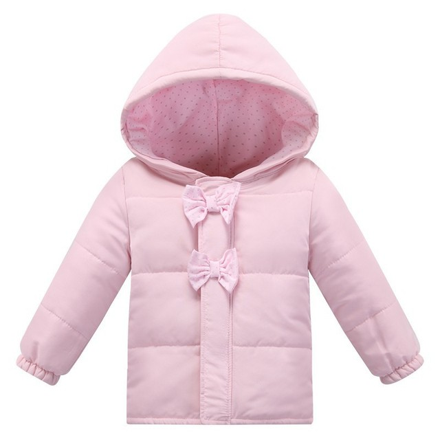 New fashion winter baby girl jacket newborn Hooded Bow pink cotton Jackets clothing  newborn bebe outerwear infant winter coats 13d14ad528a2