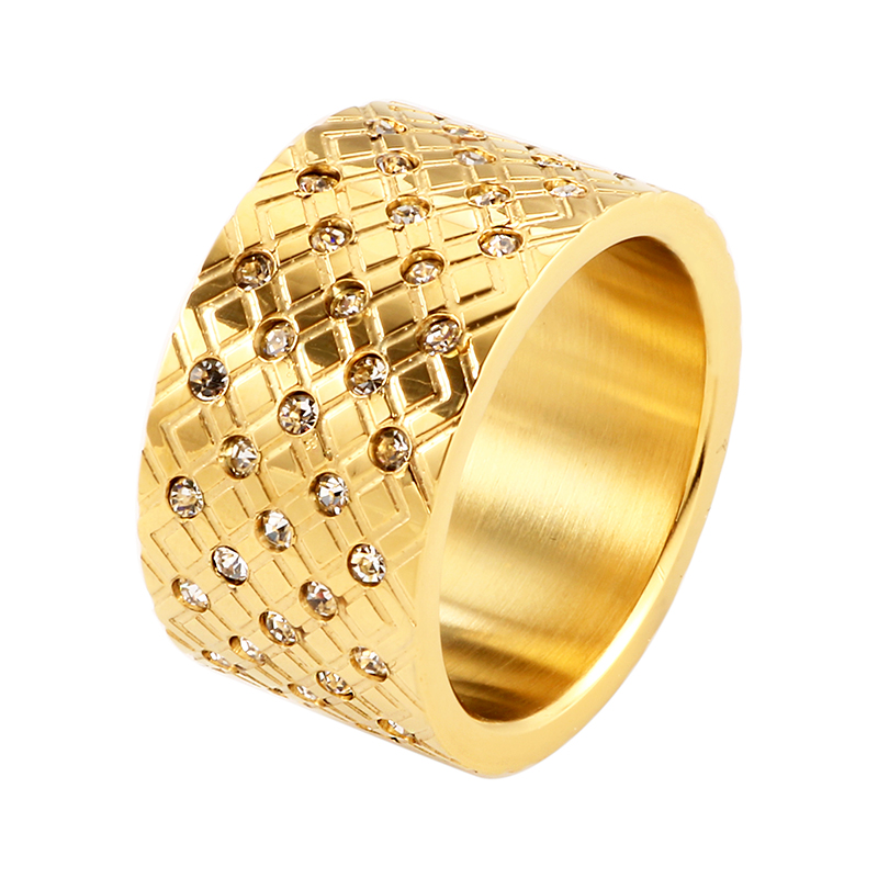 Woman Fashion Gold Plating Stainless Steel Rings CZ Inlaid 6 7 8 9 Size 12mm European Simple Ring Luxury Brand Jewellery Gift