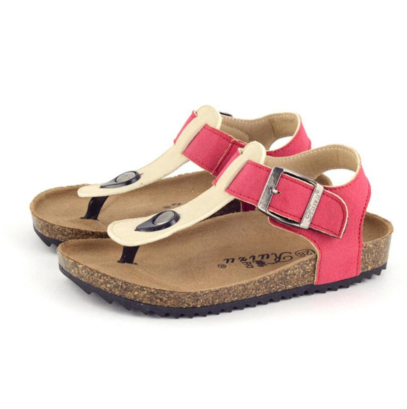 af200079a4736 2018 New Summer children s shoes boys PU leather sandals kids footwear  shoes flip flops cow cattle leather Girls beach Sandals