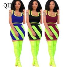 QILI Plus Size Two Piece Set Women Dress Striped Print Sleeveless Tank Top+Bottom Sets Dresses Summer Casual Womens Short Dress