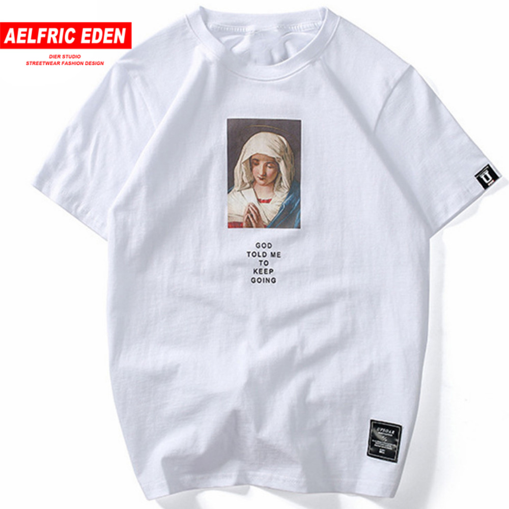 Aelfric Eden Tshirt Streetwear Mary Printed Short Sleeve T-shirt Summer Casual Cotton Hip Hop Tops Tees Swag Summer Tshirts KT54