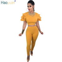 HAOYUAN 2 Two Piece Sets Womens 2018 New Stretch Sexy Skinny Crop Top And Pencil Pants