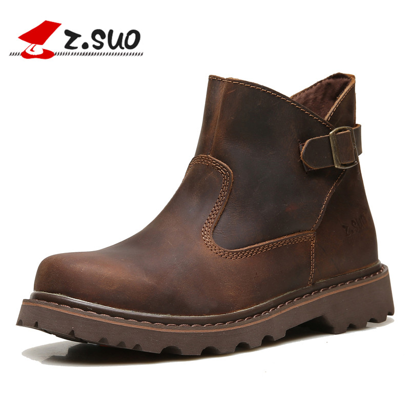 ZSUO Men s Tooling Boots high quality Natural Leather Fashion Slip on Boots For Man leisure