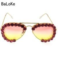 Fashion Sunglasses Women 2017 Decorative Rhinestone Luxury Brand Design Glasses Oversized Frame Eyewear Clear Lens D453