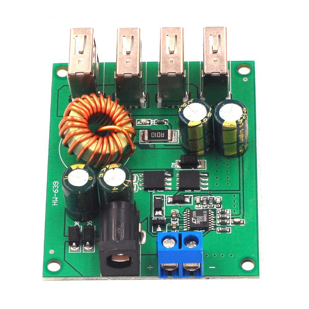 Dc-Dc Step-Down Module Voltage 5V5A High Rate Vehicle Power Supply 4Usb Output High Power Vehicle Power Supply Module