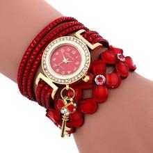 Women Watches Beautiful Fashion Leather Rhinestone Chain Quartz Bracelet Wristwa