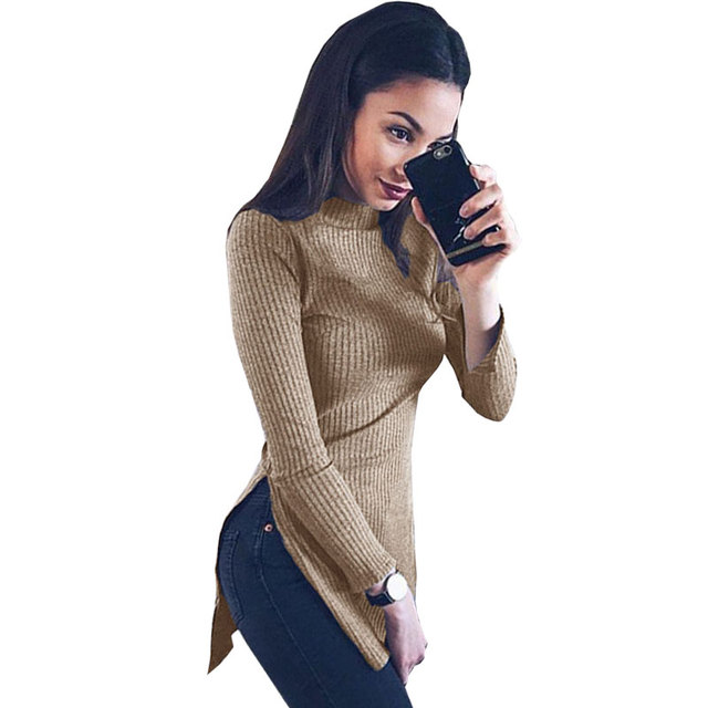JYConline 2016 Turtleneck Knitting Long T-shirt Women Causal Side Split T Shirt Female Tops Long Sleeve Winter Female T-shirt