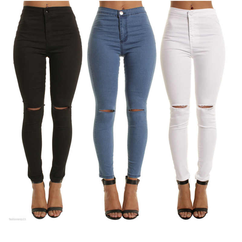 67602d015151a blue black white Sexy Elastic Hole Ripped Skinny Pencil Jeans Woman High  Waist plus size slim