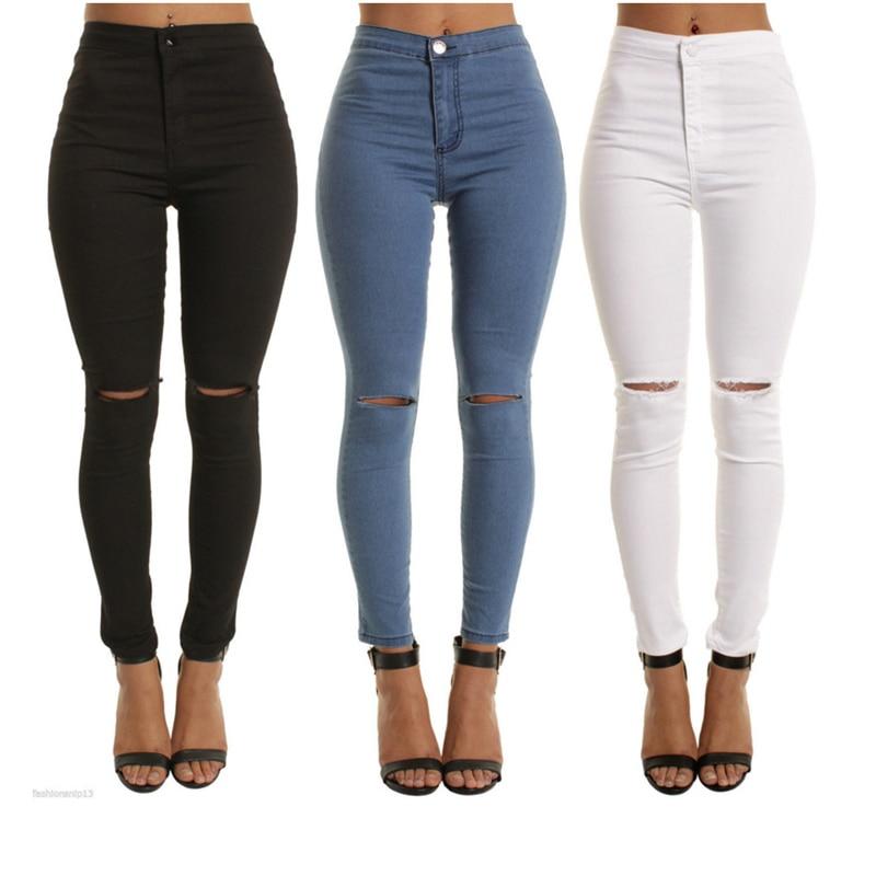 blue black white Sexy Elastic Hole Ripped Skinny Pencil   Jeans   Woman High Waist plus size slim Denim pants M-2xl