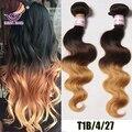 Ombre brasileño de la virgen del pelo onda del cuerpo ondulado Ombre 3 Tone #4 #30 #27 extensiones de cabello Ombre 3 unids marrón lía la armadura del pelo humano