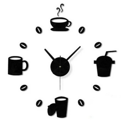 Diy Clock Silent 3D Coffee Cups Design Decorative Wall Clock