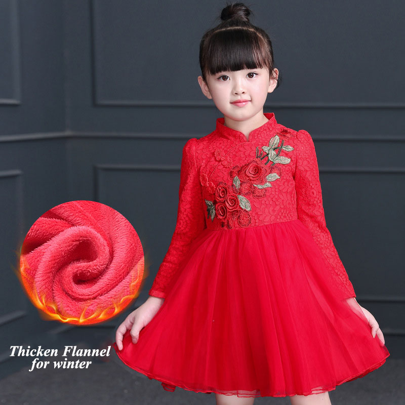 Chidlren's Summer winter fashion dress girls' Knitted Cotton Chinese style flower embroidery full-sleeve Knee-length dress pocket full length tee dress page 11