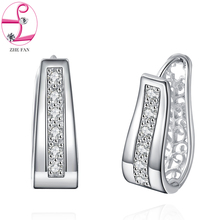 Zhe fan marca pavimentar a criação de jóias brincos do parafuso prisioneiro para o presente da festa de casamento do sexo feminino brinco estilo simples acessórios rhodium