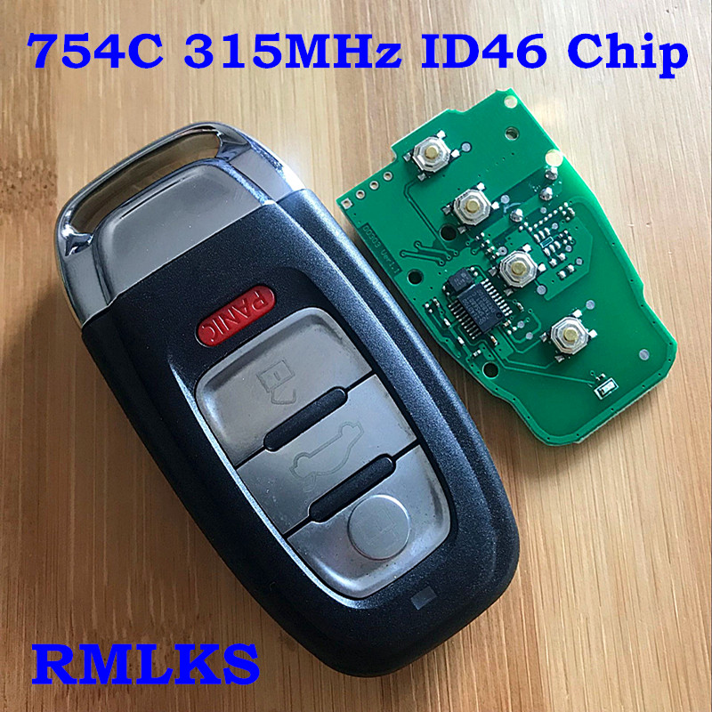 4 Button For Audi Key Fob Smart Key 315Mhz ID46 chip FCC ID: IYZFBSB802 for Audi A3 A4 A5 A6 A8 Quattro Q5 Q7 A6 A8