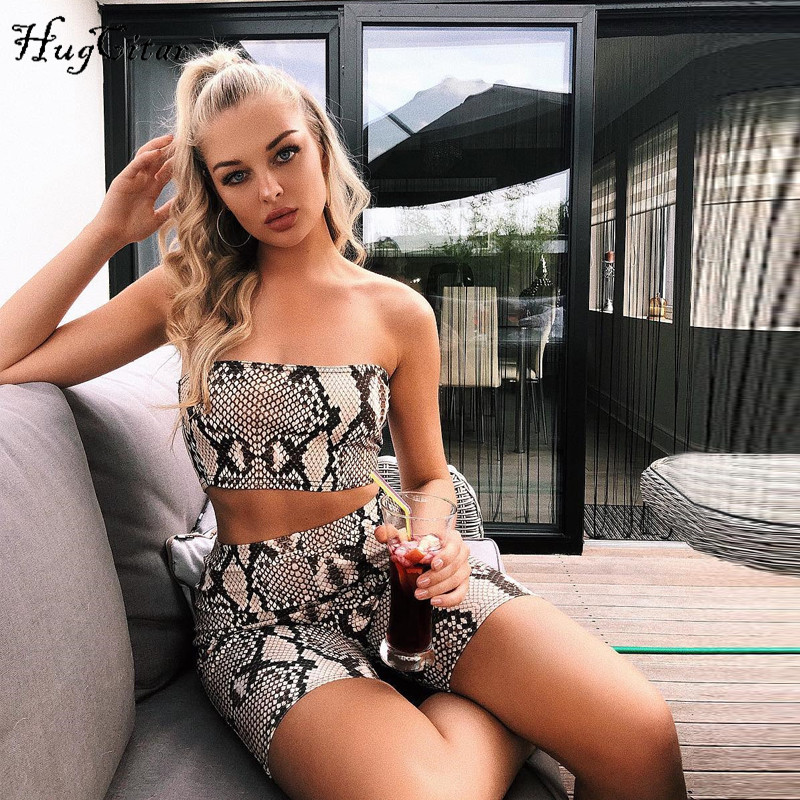 Hugcitar snake skin crop top sexy tank top shorts 2 pieces sets 2018 summer autumn women fashion elastic sportswear female set