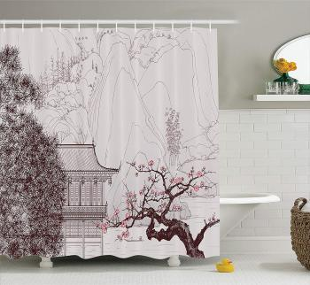 Asian Shower Curtain, Chinese Religion Temple Sakura Trees and Mountain Forms Pagoda Eastern Artwork Print