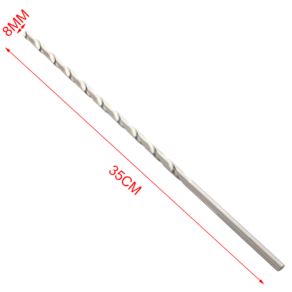Extra Long HSS Straight Shank Auger Twist Drill Bit Set 8mm Diameter 350mm Length For Plastic / Metal /Wood Drilling New
