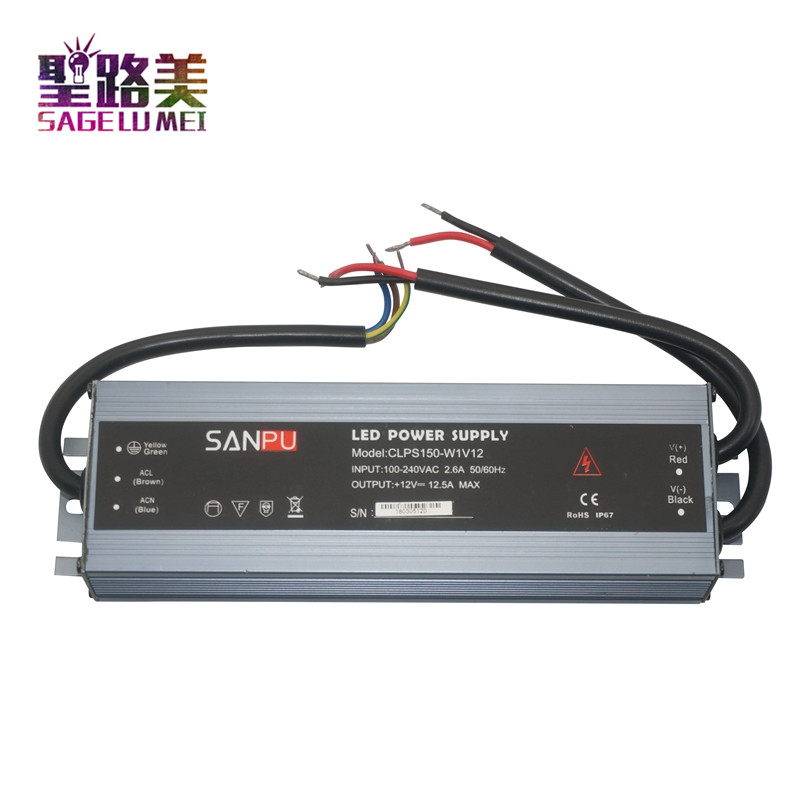 AC 110V 220V to 12V DC 150W Ultra-thin 12V power supply 24V led Driver waterproof IP67 Aluminum alloy LED Transformer Free ship dhl free ship 250w waterproof led power supply ac90 250v to 12v 24v output constant voltage driver 2 year warranty transformer