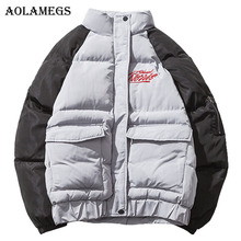 Aolamegs Down Jacket Men Patchwork Thick Winter Jacket Men Loose Stand Collar Couple Parkas Casual Windproof Coat Mens Winter