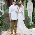 Lace Boho Deep Sweetheart Wedding Dresses Beach Full Sleeve Open Back Vestido De Novia Bridal Gown Robe De Mariage W6185